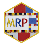 This is the MRP hex sticker. It is based off a Mondrian painting known as Boogie Woogie